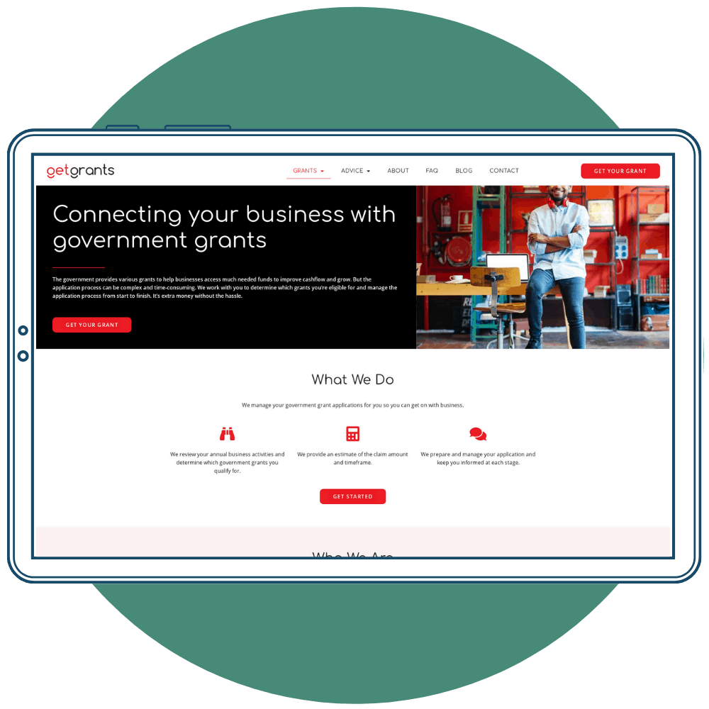 Website copywriting example for Get Grants